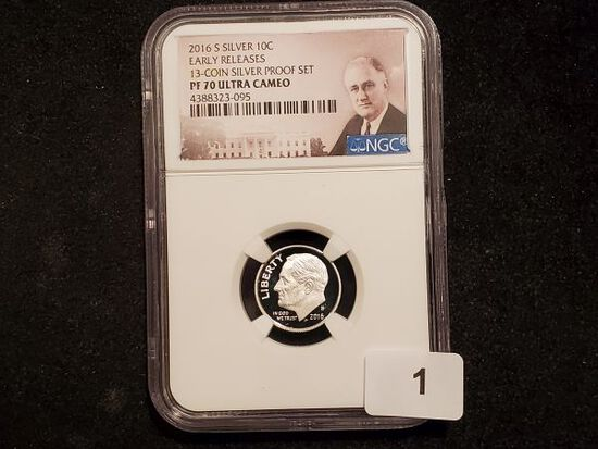 NGC 2016-S Silver Roosevelt Dime in Proof 70 Ultra Cameo