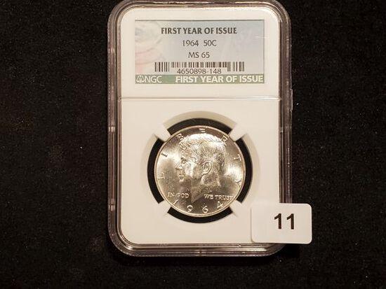 NGC 1964 Kennedy Half Dollar in MS-65