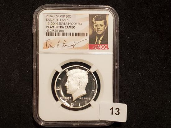 NGC 2016-S SILVER Kennedy half Dollar in PF 69 Ultra Cameo