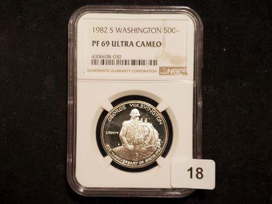 NGC 1982-S Washington Commemorative Half Dollar in PF 69 Ultra Cameo