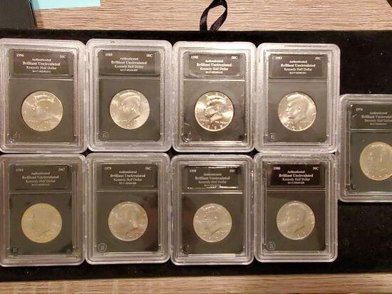 Nine Slabbed Kennedy Half Dollars