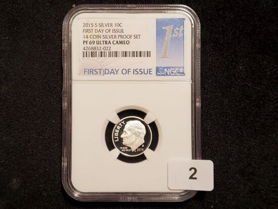 NGC 2015-S SILVER Roosevelt Dime in Proof 69 Ultra Cameo