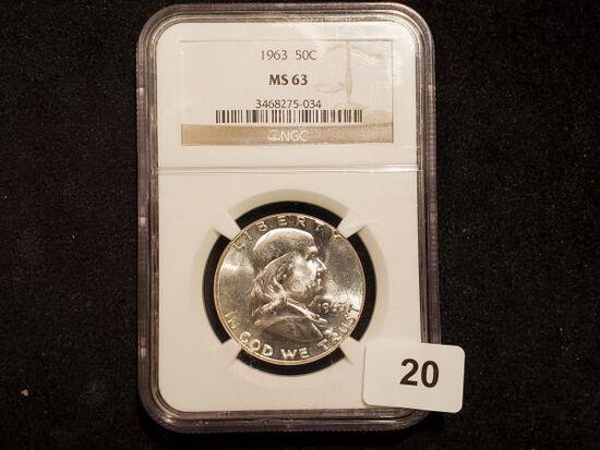 NGC 1963 Franklin Half Dollar in MS-63