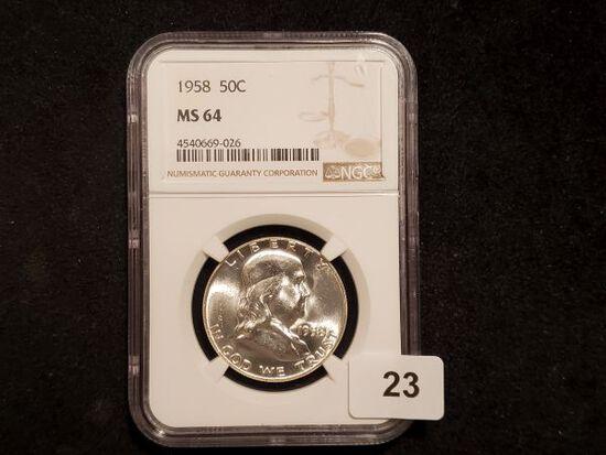 NGC 1958 Franklin Half Dollar in MS-64