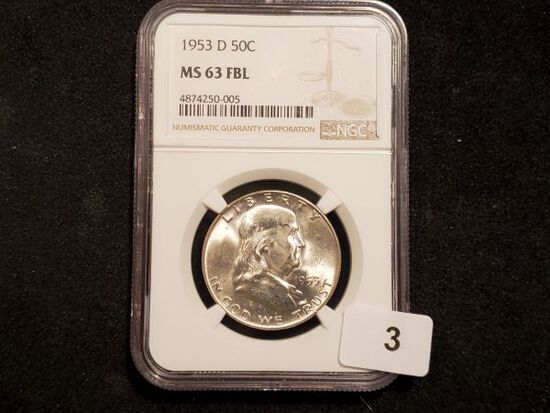 NGC 1953-D Franklin Half Dollar in MS-63 with Full Bell Lines