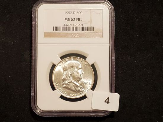 NGC 1952-D Franklin Half Dollar in MS-62 with Full Bell Lines