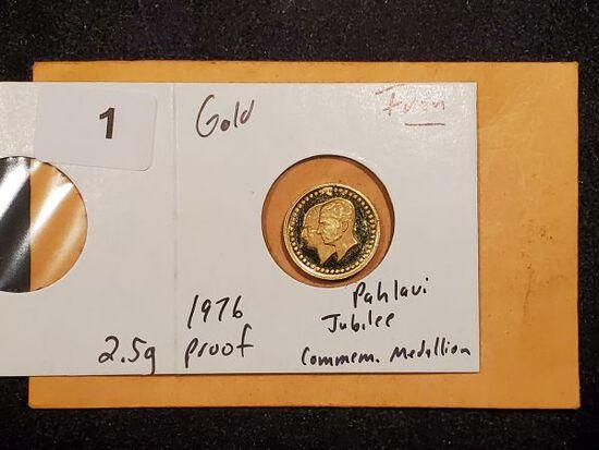 GOLD! Iran 1976 Jubilee Commemorative Medallion