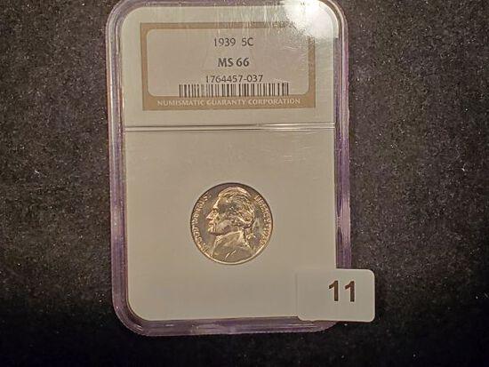 Key Date NGC 1939 Jefferson Nickel in MS-66