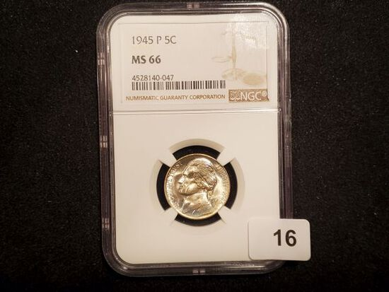 NGC 1945-P Silver Wartime Jefferson Nickel in MS-66