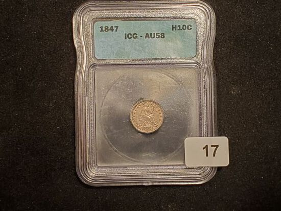***NICE! ICG 1847 Seated Liberty Half Dime in About Uncirculated 58