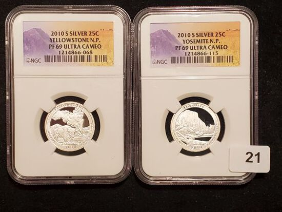 Two NGC 2010-S SILVER National Parks Quarters