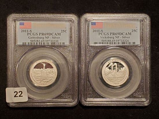 Two PCGS 2011-S SILVER National Parks Quarters