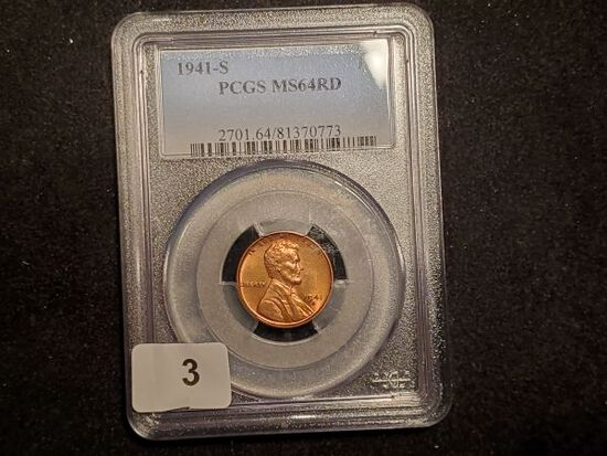 PCGS 1941-S Wheat Cent in MS-64 RED