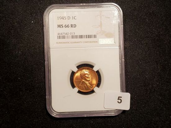 NGC 1945-D Wheat Cent in MS-66 RED