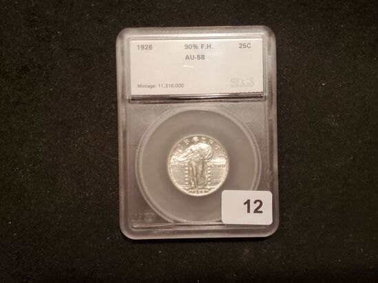 Beautiful SEGS 1926 Standing Liberty Quarter About Uncirculated 58