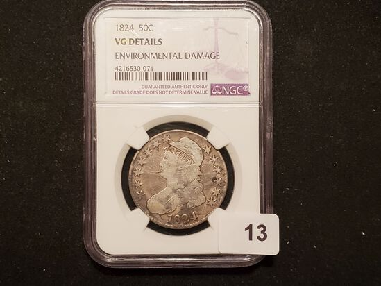 NGC 1824 Capped Bust Half Dollar very Good details