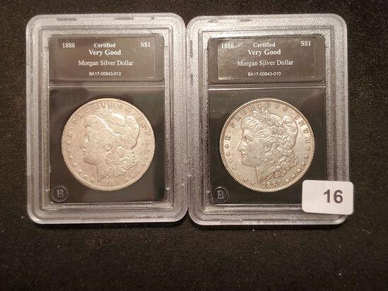 Two slabbed Morgan Dollars