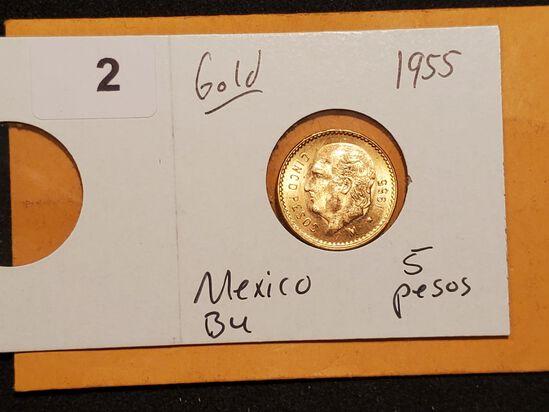 GOLD! 1955 Mexico Brilliant Uncirculated cinco pesos