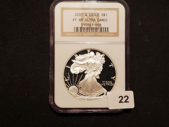 NGC 2001-W American Silver Eagle Proof 69 Ultra Cameo