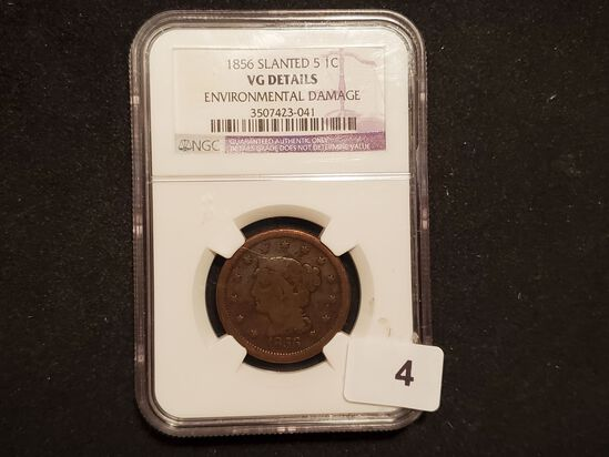 NGC 1856 Slanted 5 Braided Hair Large Cent Very Good details
