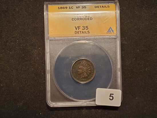 ANACS Semi-Key date 1869 Indian Cent Very Fine 35 - details