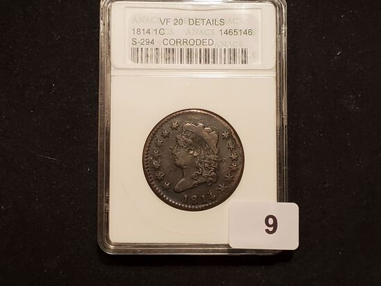 ANACS 1814 Classic Head Large Cent Very Fine - 20 details