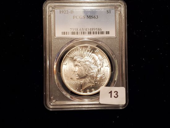 PCGS 1922-D Peace Dollar in Mint State 63