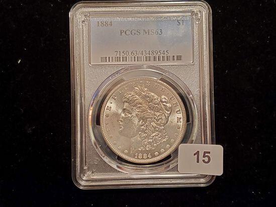 PCGS 1884 Morgan Dollar in Mint State 63