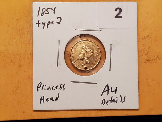 GOLD! 1854 Type 2 Princess Head One Dollar gold in About Uncirculated - details