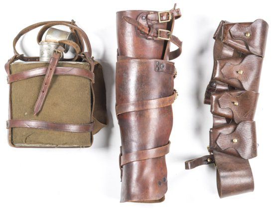 LOT X 3: AUSTRALIA LIGHT HORSE, 5 POUCH BANDOLIER: stamped H.G.R. 1918; of the type used to fit to t