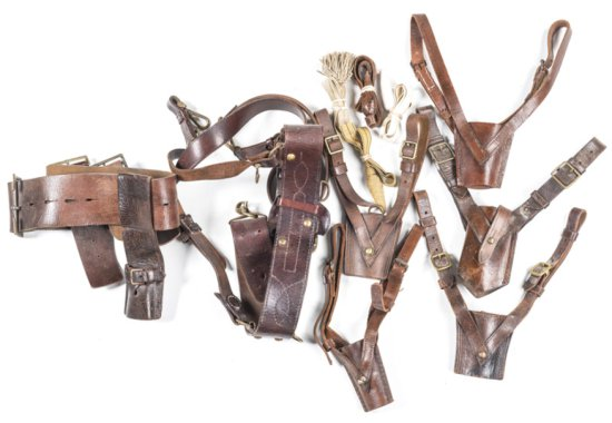 LOT CONTAINING: 5 various leather sword frogs; 4 sword knots; Sam Brown Officer's belt & straps mark