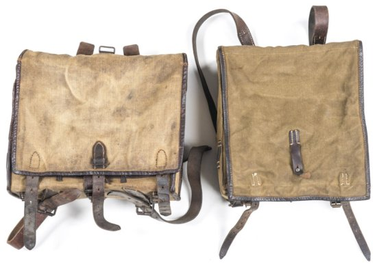 2 X GERMAN WWII CANVAS INFANTRY BACK PACKS: dated 1945. Early WWII CANVAS INFANTRY back pack; dated