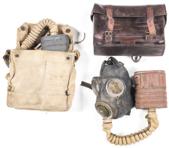 LOT X 3: BRITISH WWI GAS MASK with original canvas shoulder bag dated 1917. BRITISH WWII GAS MASK wi
