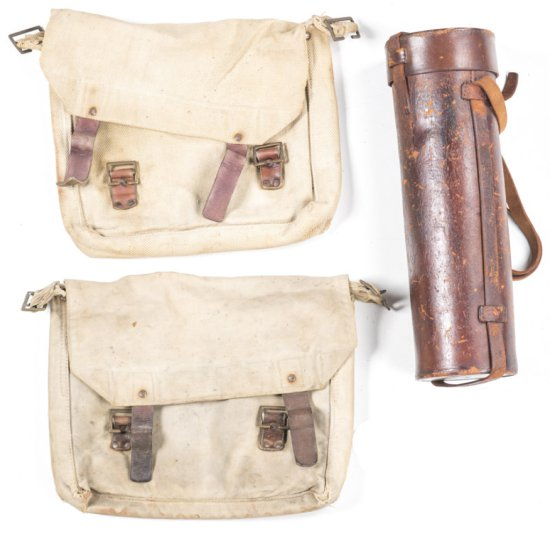 LOT X 3: AUSTRALIAN CANVAS WW1 SHOULDER BAG, dated 1917 & marked A.G.H.F., no straps. AUSTRALIAN LIG