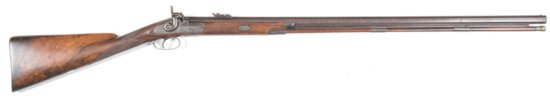 ENGLISH BRASHER & FLETCHER S/B PERCUSSION HALF STOCKED HUNTING RIFLE: 550 Cal; 34? oct damascus twis