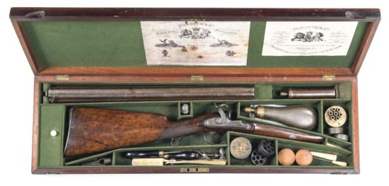 CASED FORSYTH & CO PERCUSSION VOLLEY GUN:88 bore; 7 shot rifled barrel cluster of 20? withGUNMAKER