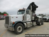 2000 PETERBILT 379 T/A DAYCAB WITH KNUCKLEBOOM CRANE, TITLE DELAY, 80000 GV
