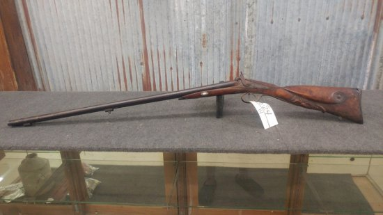 Antique Black Powder Double Barrel Shotgun with carved stock probably European ramrod missing