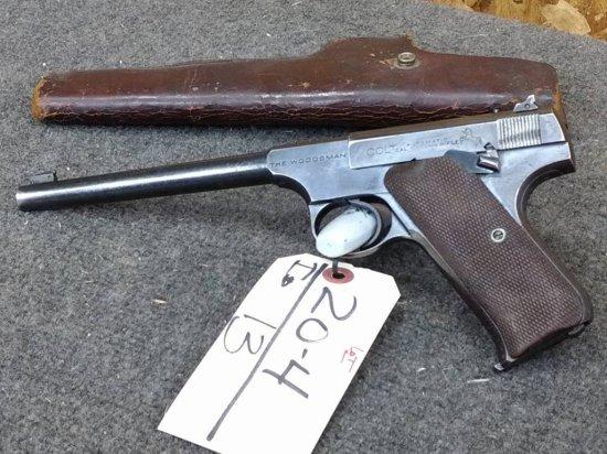 Colt The Woodsman .22 Semi Auto Pistol Original Grips & Magazine With Holster