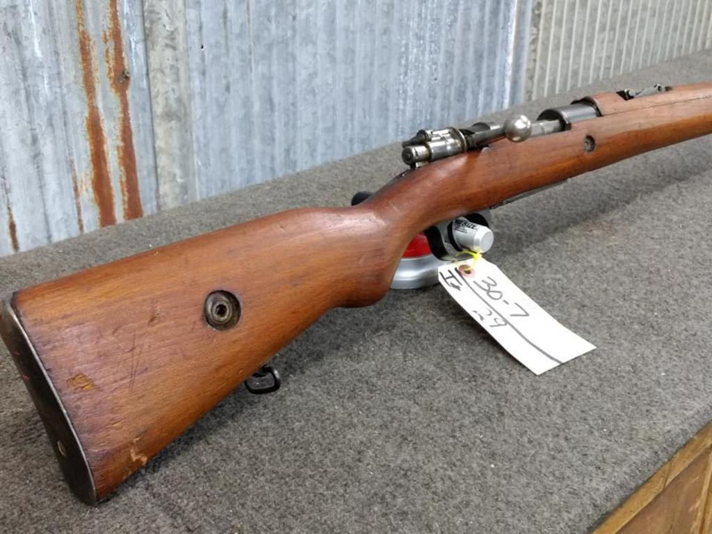 Lot: 1953 Turkish Mauser 7mm Bolt Action Rifle With Bayonet