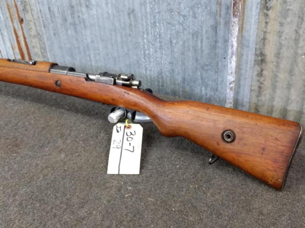 Lot: 1953 Turkish Mauser 7mm Bolt Action Rifle With Bayonet SN