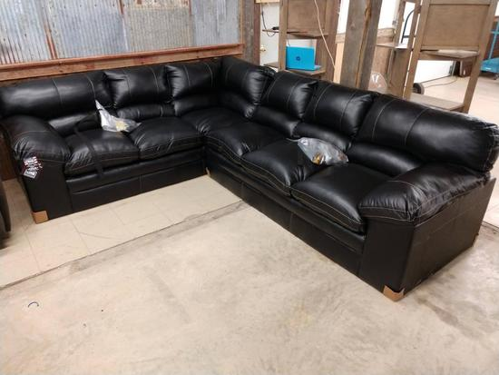 Brand New Simmons Black Leather 3pc Sectional Couch Complete