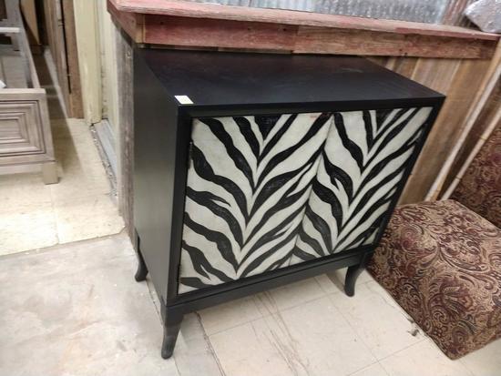 Home Meridian Brand Zebra Print 2 Door Cabinet New