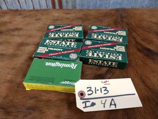 Four four boxes in partial box 12 gauge slugs