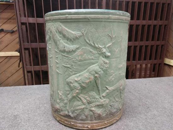 Ornate Stoneware Sand Jar Approx. 5 Gal