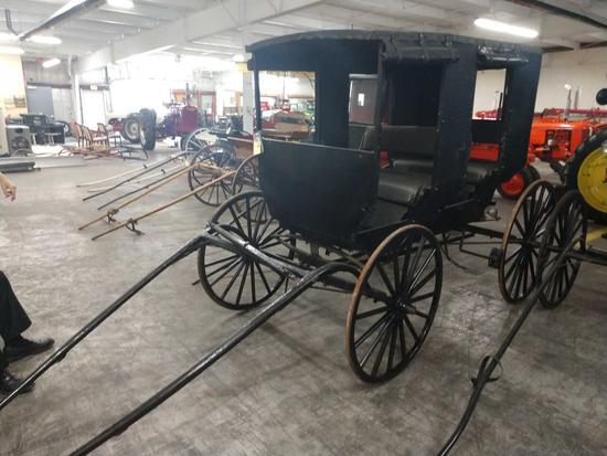 Vintage Amish 2 Seat Family Horse Drawn Buggy