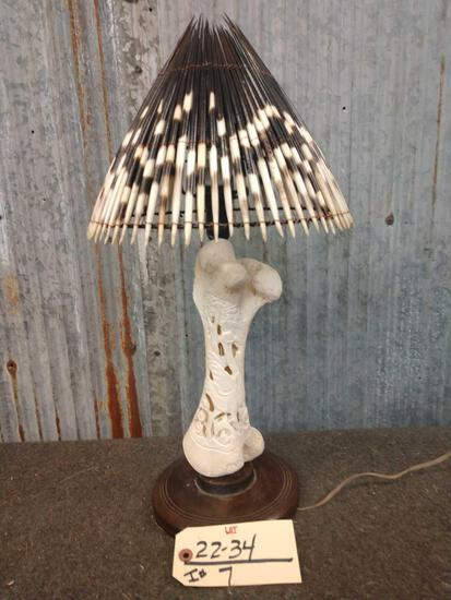 Carved Giraffe Bone Lamp
