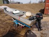 14' Alumacraft v Bottom Boat With 8hp Mercury Outboard