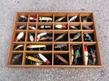 Lot Of 30 Vintage Fishing Lures In Shadow Box Display