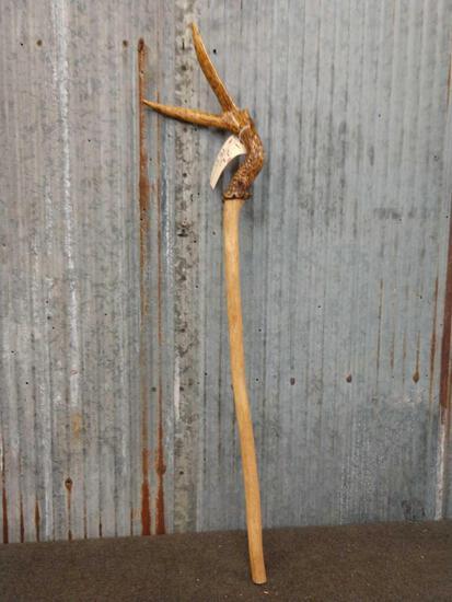 Hand Carved Antler Walking Stick